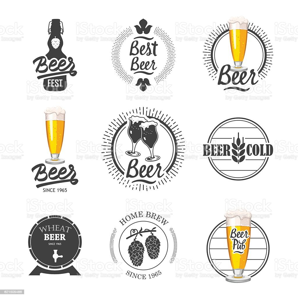 Vector Illustration with beer pub logo and labels. Simple symbols vector art illustration