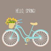 Vector illustration with bicycle and tulips in flat style. Text hello spring. Design for birthday or wedding card