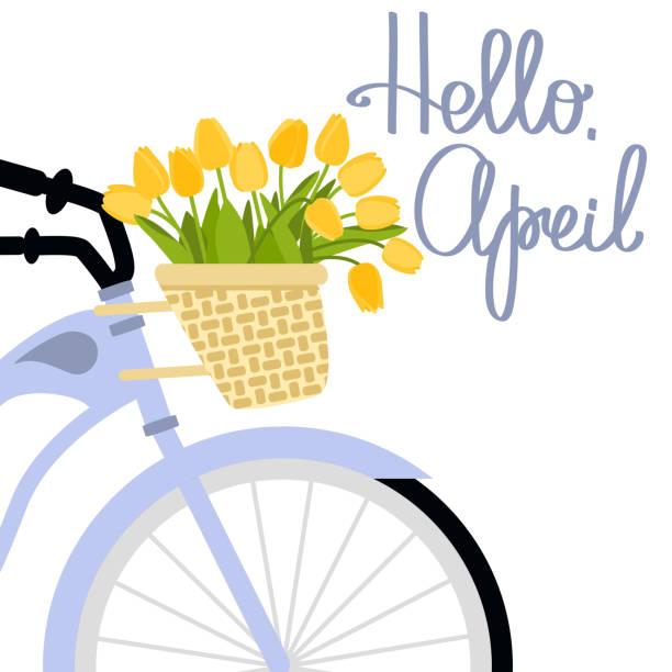 vektor-illustration mit fahrrad und tulpen - hello stock-grafiken, -clipart, -cartoons und -symbole