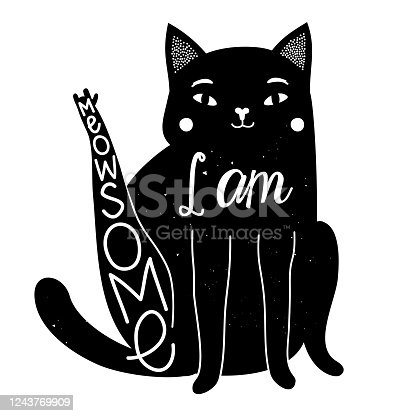 Vector illustration with black cat and funny slang phrase - I am Meowsome.