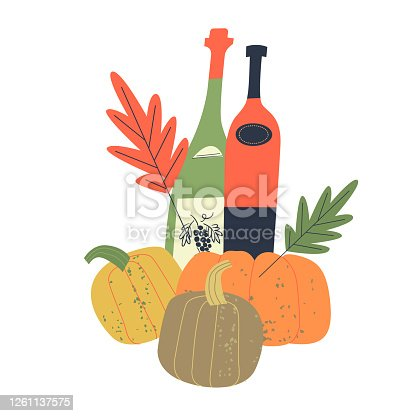 istock Vector illustration with bottles of young wine, bright orange pumpkins and autumn leaves. 1261137575