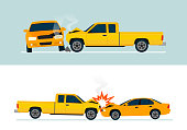 Car crash involving two yellow cars isolated on white background. Automobile accident concept.  Side view. Infographic set with two banner.