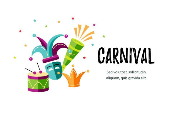 ilustraciones, imágenes clip art, dibujos animados e iconos de stock de ilustración de vector con carnaval y objetos de celebración. - carnaval