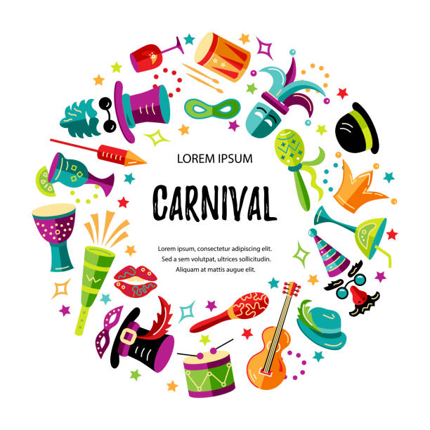 vector illustration with carnival and celebratory objects. - mardi gras cartoons stock illustrations, clip art, cartoons, & icons