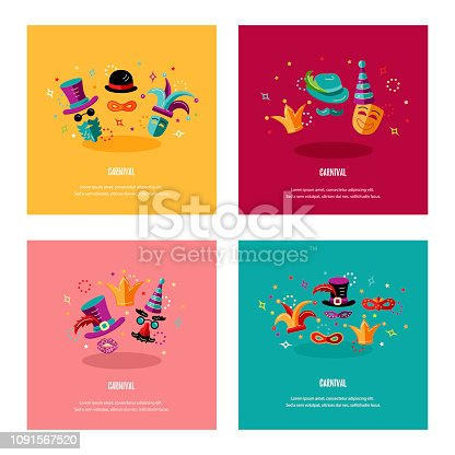 Vector illustration with carnival and celebratory objects. Template for carnival, invitation, poster, flayer, funfair. Flat style