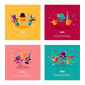 Vector illustration with carnival and celebratory objects.