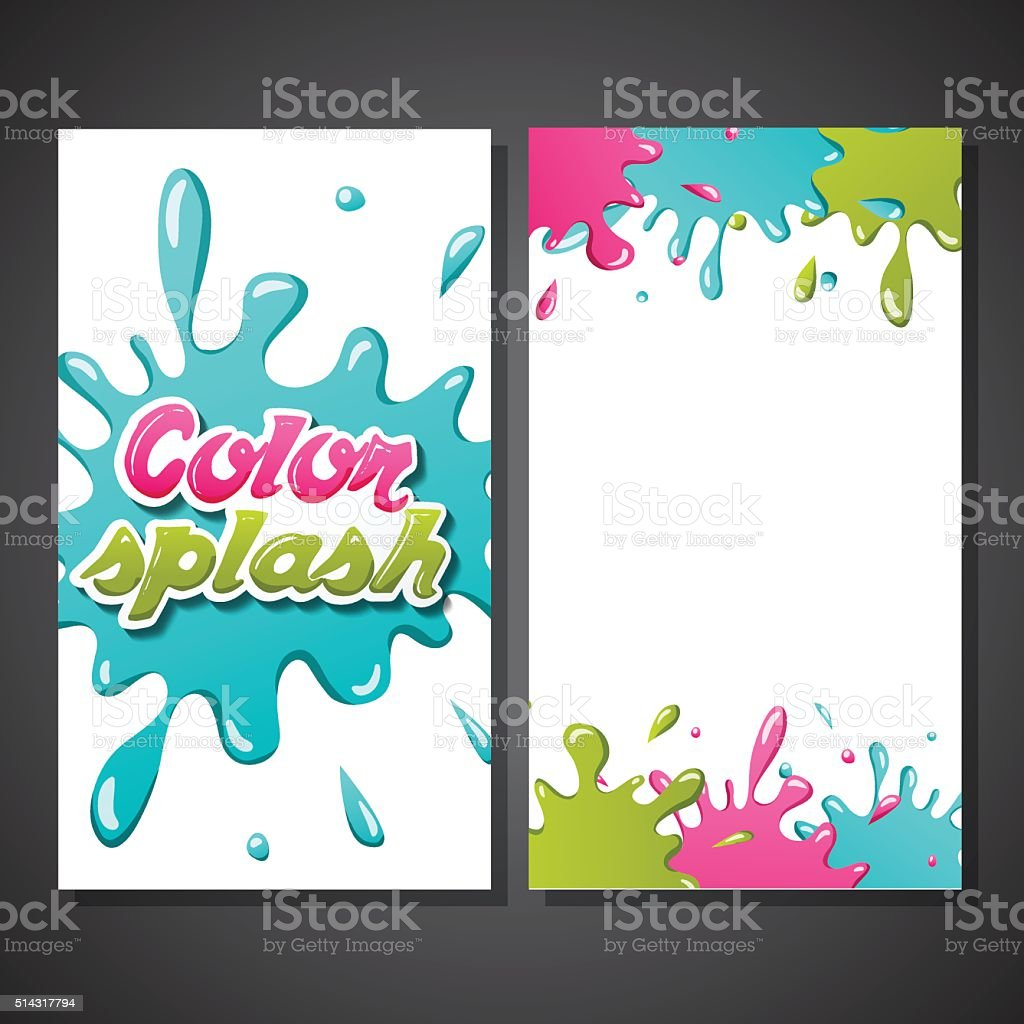 Vector Illustration with Cartoon Color Paint Splashes. vector art illustration