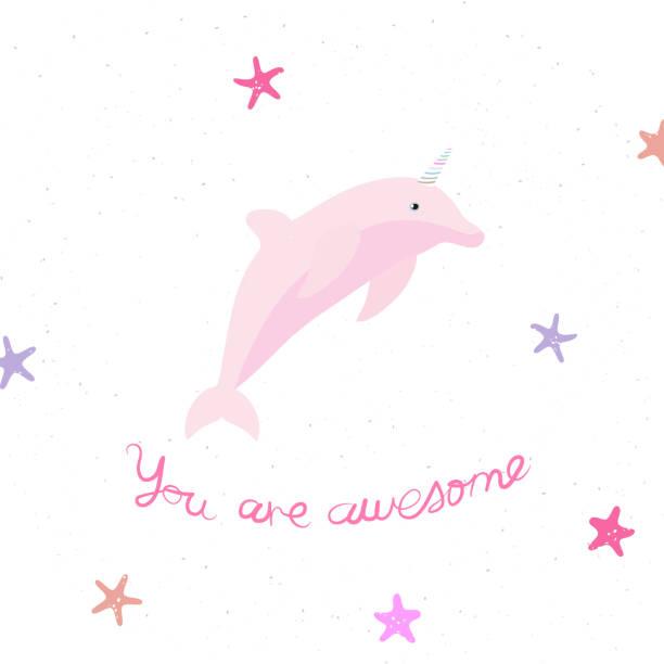 ilustrações de stock, clip art, desenhos animados e ícones de vector illustration with cartoon dolphin-unicorn and inscription you are awesome on white background. - unicorn bed