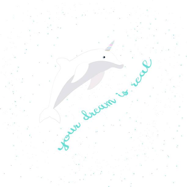 ilustrações de stock, clip art, desenhos animados e ícones de vector illustration with cartoon dolphin-unicorn and inscription your dream is real on white background. - unicorn bed