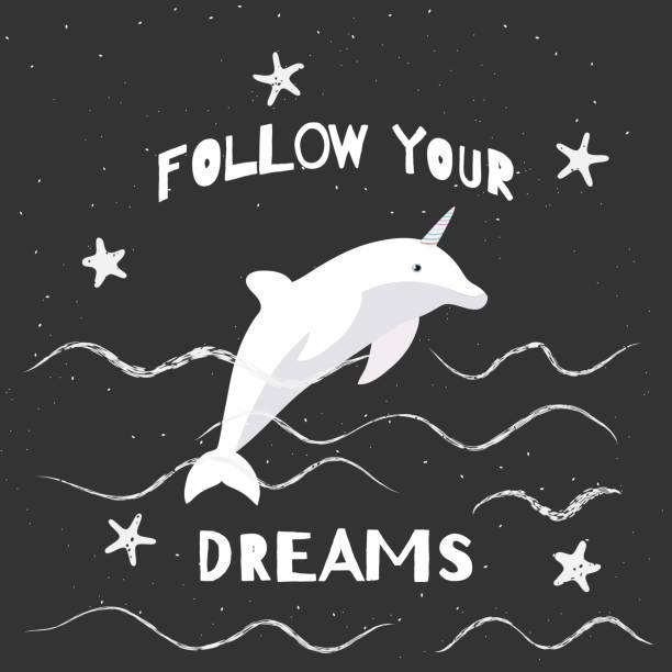 ilustrações de stock, clip art, desenhos animados e ícones de vector illustration with cartoon dolphin-unicorn and inscription follow your dreams on black background. - unicorn bed