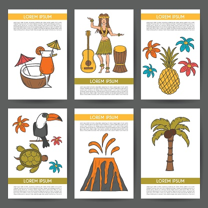 Vector illustration with cartoon hand drawn hawaii background. Tropical island summer travel. Beach life, relaxation, palm, Hawaii tourism. Vector hand drawn cartoon vacation background