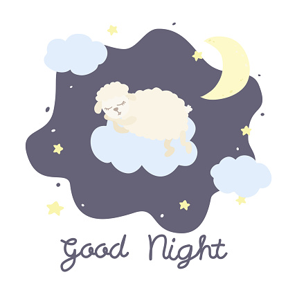 Vector illustration with cartoon sheep, clouds, stars and inscription Good Night on white background.