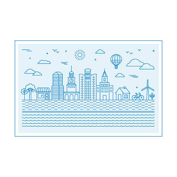 ベクトルイラスト、街並みの眺め - 都市 モノクロ点のイラスト素材/クリップアート素材/マンガ素材/アイコン素材
