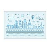 Vector illustration with city skyline