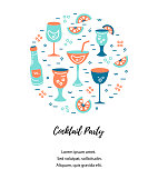 Vector illustration with cocktail glasses and bottle. Template for bar menu, party, alcohol drinks, holidays, flyer, brochure, poster, banner. Flat and outline style vector illustration.