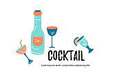Vector illustration with cocktail glasses and bottle. Template for bar menu, party, alcohol drinks, holidays, flyer, web, poster, banner. Line style vector illustration