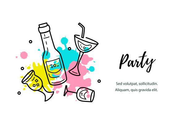 bildbanksillustrationer, clip art samt tecknat material och ikoner med vektorillustration med cocktail glas, flaska och färg stänk. - vin sommar fest