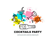 Vector illustration with cocktail glasses, bottle and paint splashes. Template for bar menu, party, alcohol drinks, holidays, flyer, web, poster, banner. Line style vector illustration