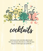 Vector illustration with cocktail glasses, bottle and paint splashes. Template for bar menu, party, alcohol drinks, holidays, flyer, web, poster, banner