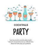 Vector illustration with cocktail glasses. Template for bar menu, party, alcohol drinks, holidays, flyer, brochure, poster, banner. Flat and outline style vector illustration.