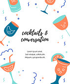 Vector illustration with cocktail glasses. Template for bar menu, party, alcohol drinks, holidays, flyer, brochure, poster, banner. Flat and outline style
