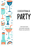 Vector illustration with cocktail glasses. Template for bar menu, party, alcohol drinks, holidays, flyer, brochure, poster, banner. Flat style vector illustration