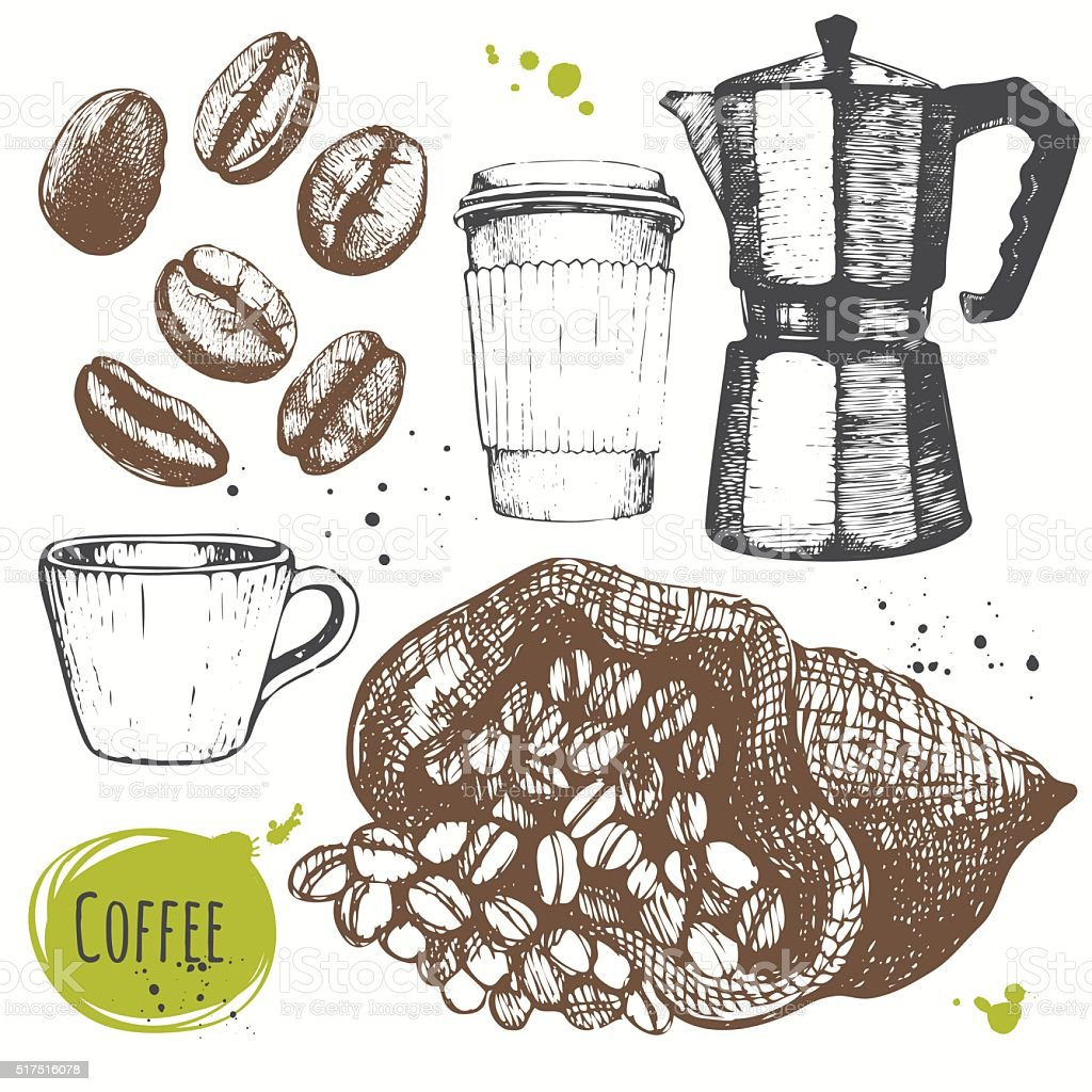 Vector illustration with coffe drinks. Decorative elements for your design. vector art illustration