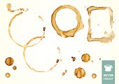 Vector set of coffee stains & drop of coffee isolated on white backgroun. Traces of drink.