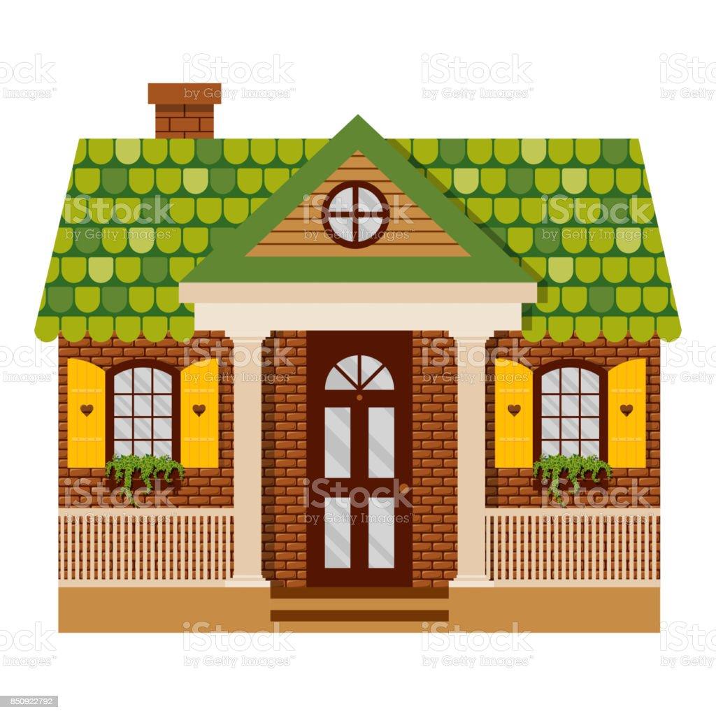 Vektorillustration Mit Landhaus Im Flachen Stil Stock Vektor Art Und