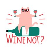 Vector illustration with cute fat cat in sunglasses and lettering phrase Wine not?