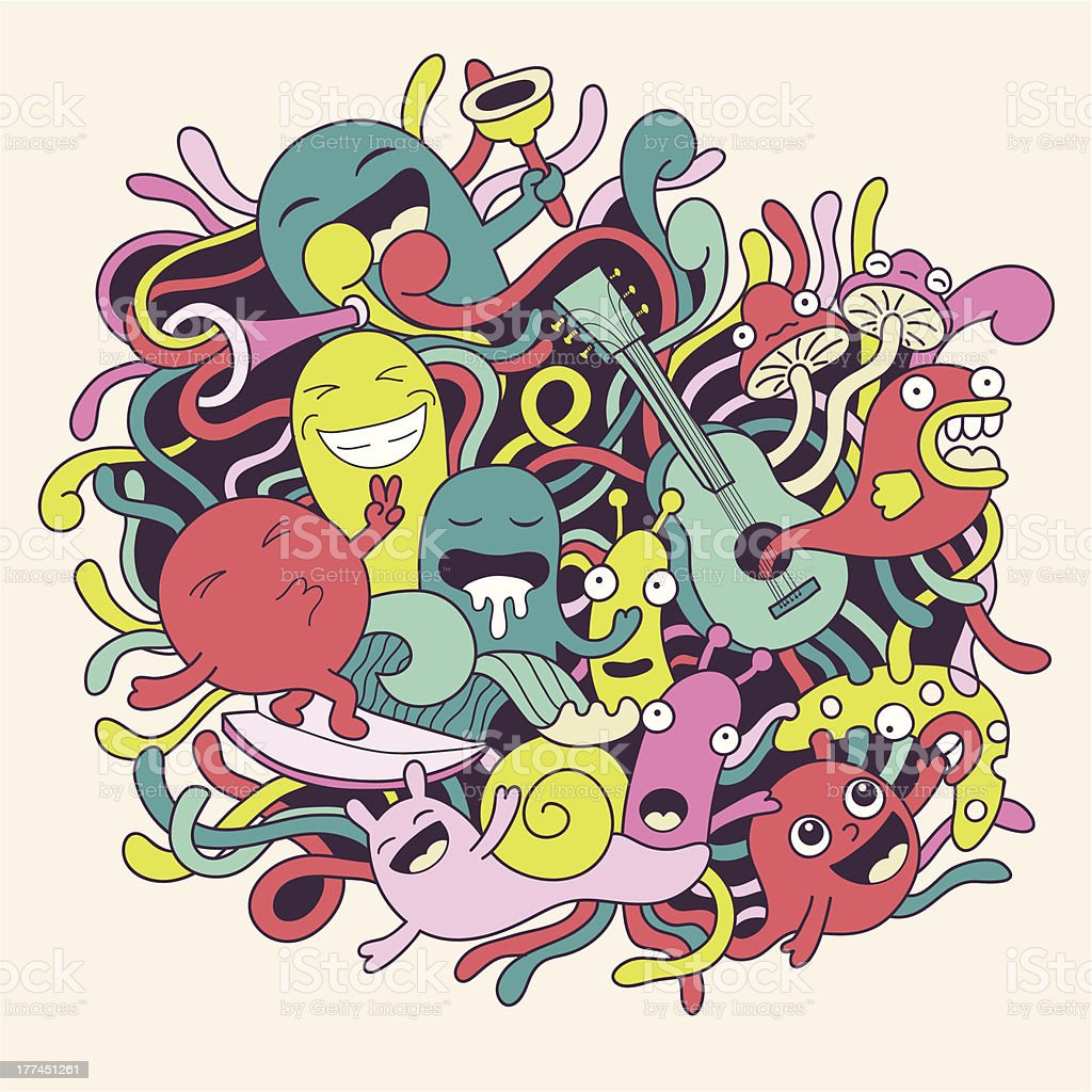Vector illustration with cute funny monsters royalty-free vector illustration with cute funny monsters stock vector art & more images of abstract