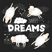 Vector illustration with cute hand drawn cartoon sheeps, clouds, stars and quote Sweet dreams isolated on black background. Design for print, fabric, wallpaper, card, baby room decoration