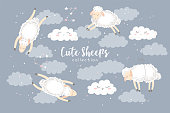 Vector illustration with cute hand drawn cartoon sheeps collection, clouds and stars isolated on grey background. Design for print, fabric, wallpaper, card, baby room decoration