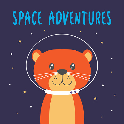 vector illustration with cute otter in space