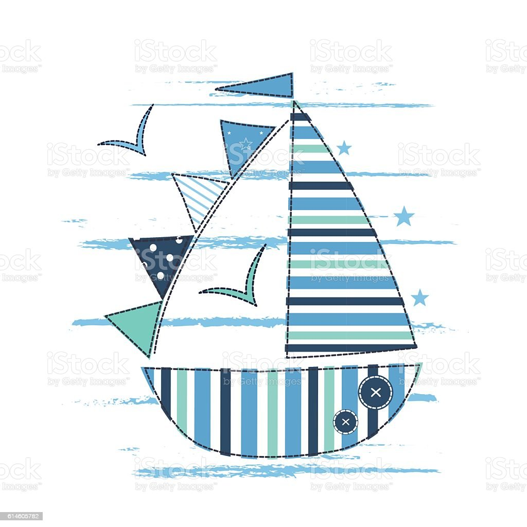 Vector illustration with cute sailing ship for kids design stock vector illustration with cute sailing ship for kids design royalty free vector illustration with cute pooptronica Choice Image