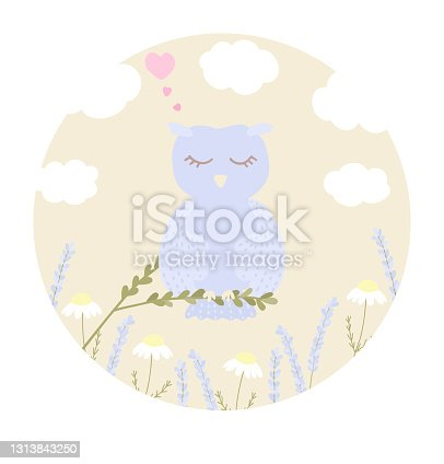istock Vector illustration with cute sleeping owl, clouds, chamomile and lavender on blue background. 1313843250