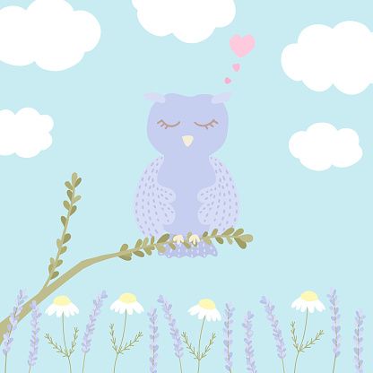 Vector illustration with cute sleeping owl, clouds, chamomile and lavender on blue background.