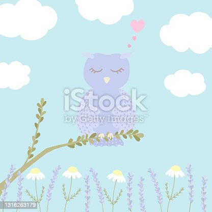 istock Vector illustration with cute sleeping owl, clouds, chamomile and lavender on blue background. 1316263179
