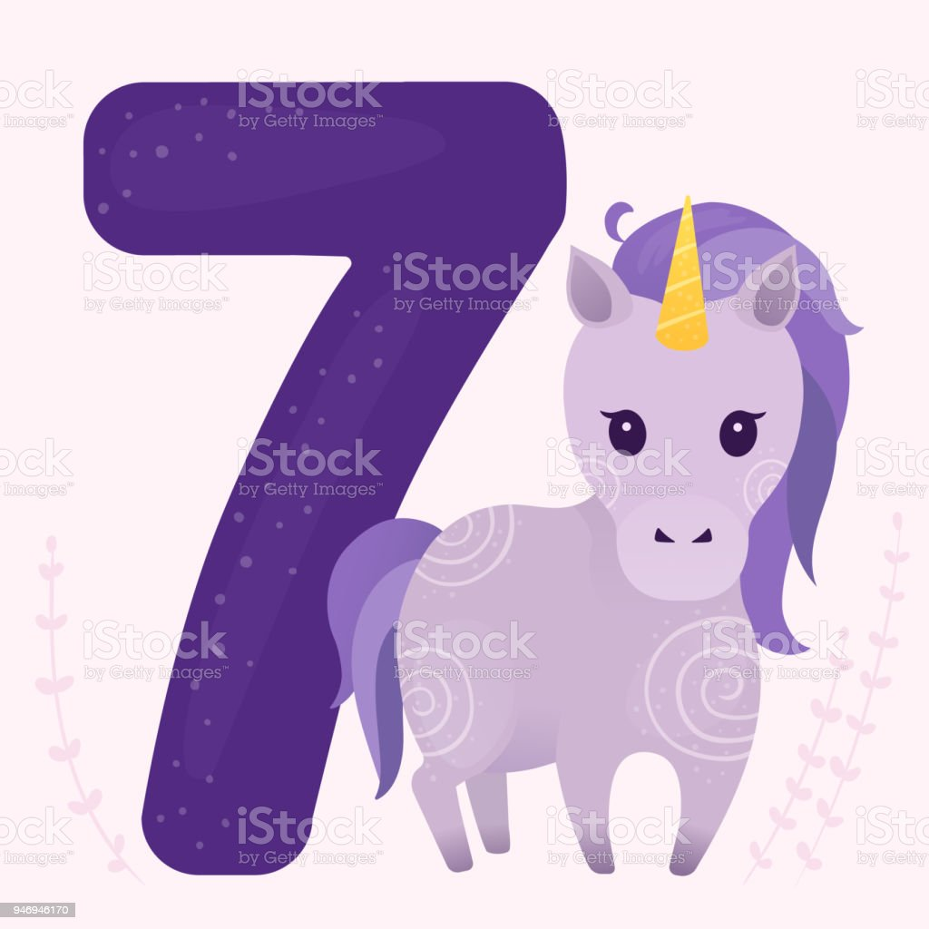 Vector illustration with cute violet unicorn and number 7. vector art illustration