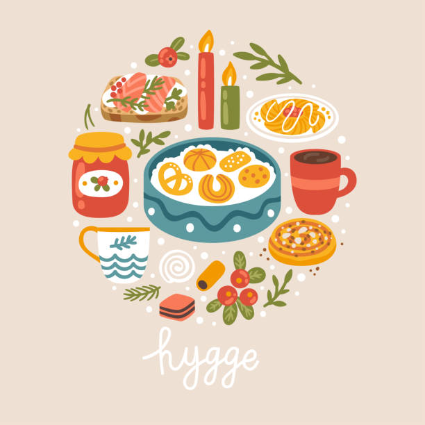 "vector illustration with danish food, drinks and hand written text ""hygge"". scandinavian style. trendy concept background. - cinnamon roll stock illustrations, clip art, cartoons, & icons"