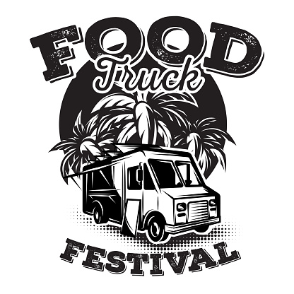 Vector illustration with design elements for advertising street food festival