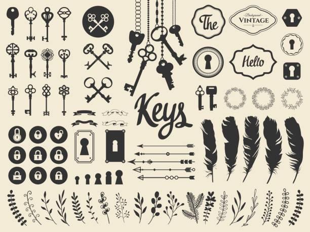ilustracja wektorowa z ilustracjami do dekoracji. duże sylwetki zestaw kluczy, zamki, wieńce, ilustracje, gałąź, strzałki, pióra na białym tle. styl vintage - klucz stock illustrations