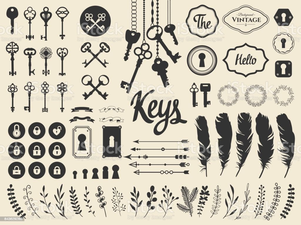 Vector illustration with design illustrations for decoration. Big silhouettes set of keys, locks, wreaths, illustrations, branch, arrows, feathers on white background. Vintage style vector art illustration