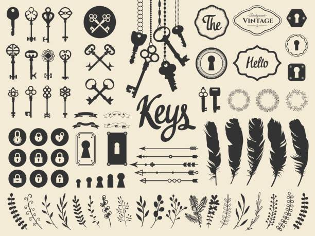 vector illustration with design illustrations for decoration. big silhouettes set of keys, locks, wreaths, illustrations, branch, arrows, feathers on white background. vintage style - klucz stock illustrations