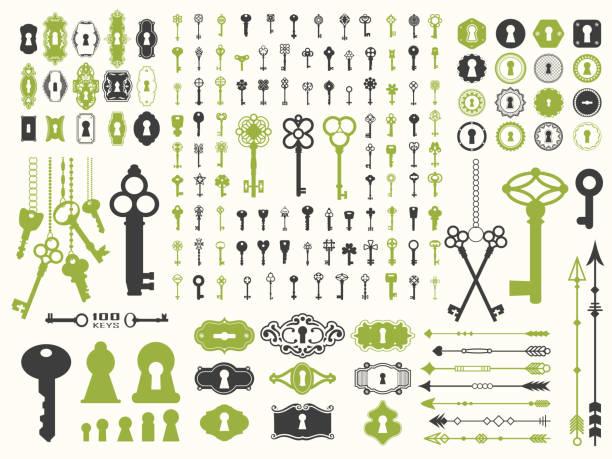 装飾用デザイン イラスト ベクトル イラスト。キー、ロック、矢印、白地にイラストの大きなシルエットのセットします。ビンテージ スタイル - 鍵点のイラスト素材/クリップアート素材/マンガ素材/アイコン素材