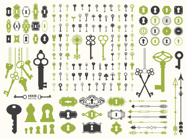 vector illustration with design illustrations for decoration. big silhouettes set of keys, locks, arrows, illustrations on white background. vintage style - klucz stock illustrations