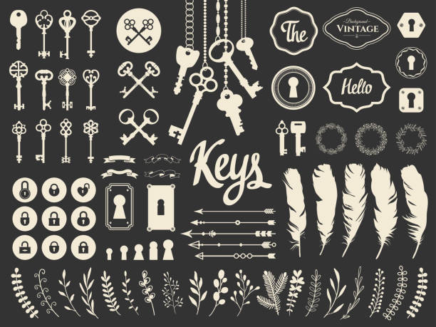 Vector illustration with design illustrations for decoration. Big silhouettes set of keys, locks, wreaths, illustrations, branch, arrows, feathers on white background. Vintage style Vector illustration with design illustrations for decoration. Big silhouettes set of keys, locks, wreaths, illustrations, branch, arrows, feathers on black background. Vintage style. keyhole stock illustrations
