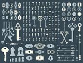 Vector illustration with design illustrations for decoration. Big silhouettes set of keys, locks, arrows, illustrations on dark blue background. Vintage style