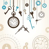 Vector illustration with dial, compass, keys and parts of hour
