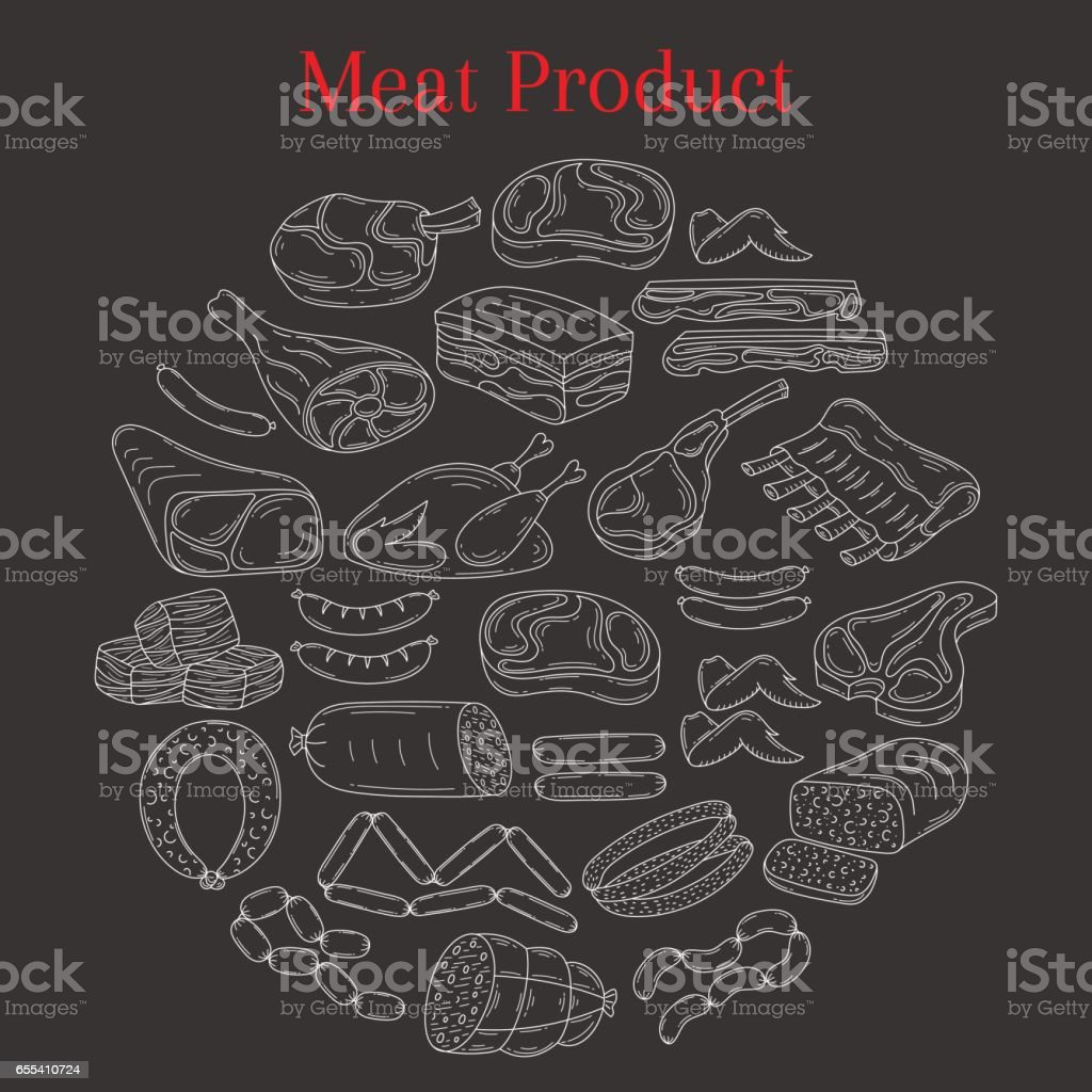 Vector illustration with different kinds of meat vector art illustration